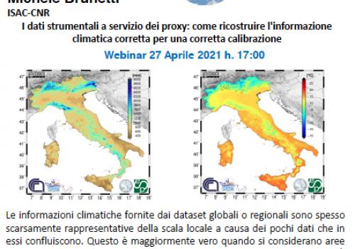 Webinar 27 Aprile : I dati strumentali a servizio dei proxy: come ricostruire l'informazione climatica corretta per una corretta calibrazione